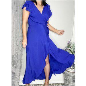 PPLA Blue wrap dress fluttery sleeves NWT 0527